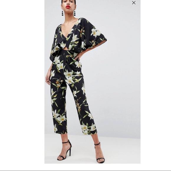 asos pants jumpsuit kimono hawaiian lilly print 6 poshmark rh poshmark com